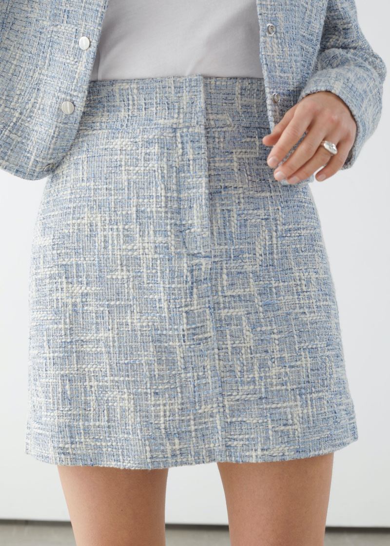 & Other Stories Tailored High Waisted Tweed Mini Skirt $69