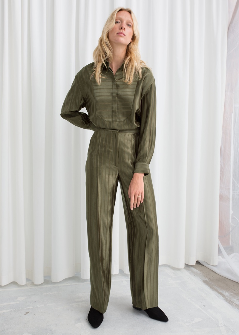 & Other Stories Tailored Jacquard Stripe Pants $89