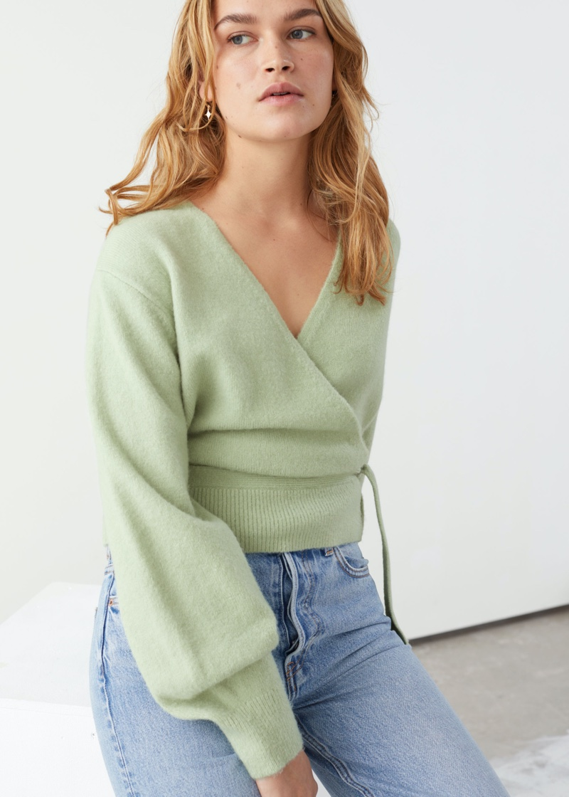 & Other Stories Wrap Cardigan in Green $59