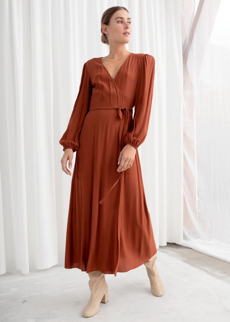 & Other Stories Wrap Midi Dress in Rust $119