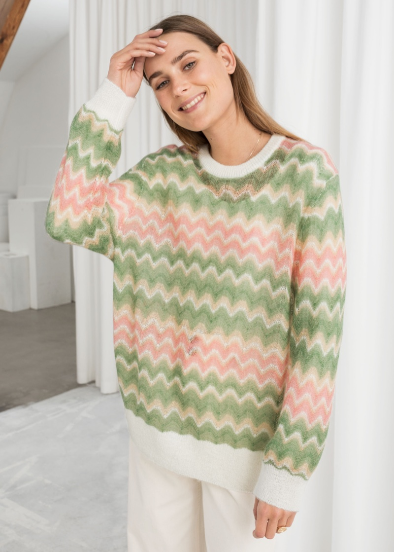 & Other Stories Zig Zag Wool Blend Sweater $89