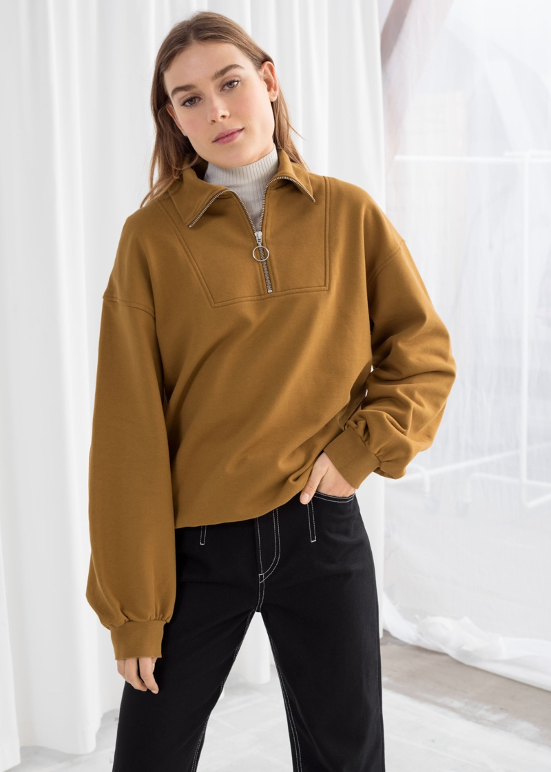 & Other Stories Zip Up Cotton Pullover $69