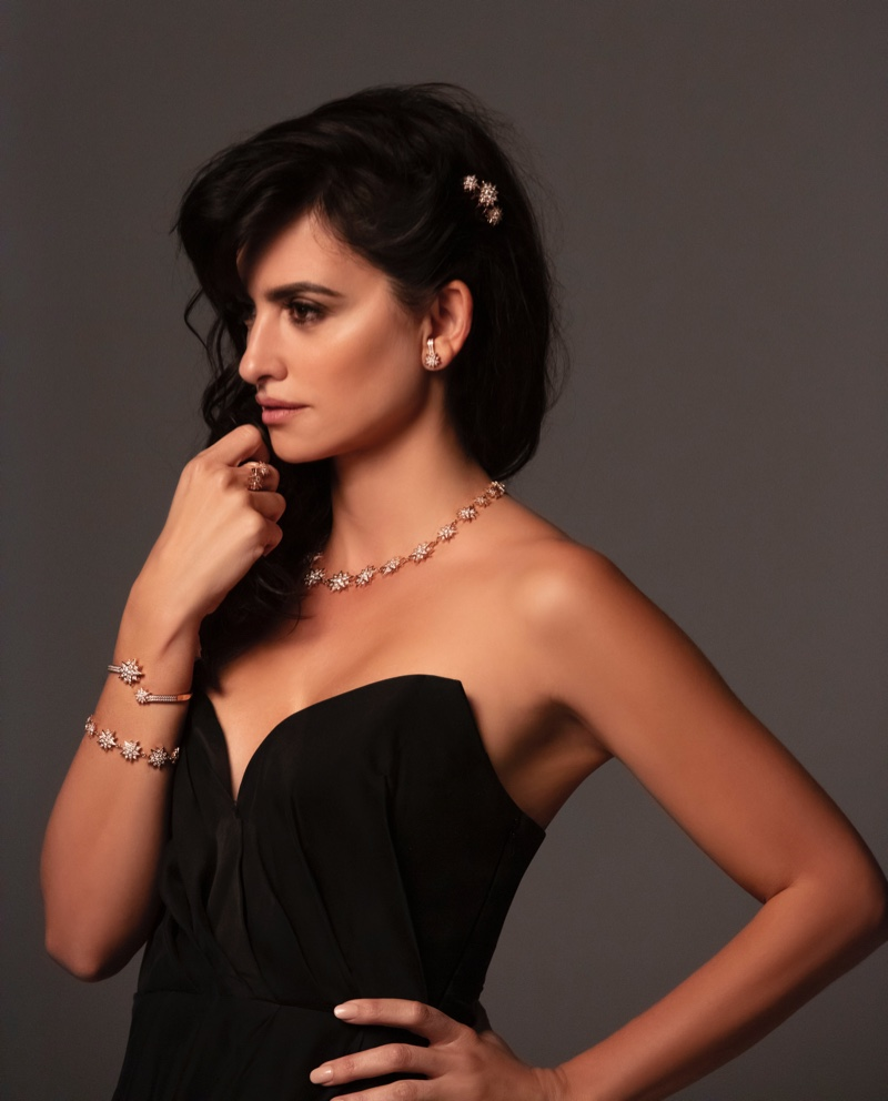BEHIND THE SCENES: Actress Penelope Cruz poses on set for Atelier Swarovski
