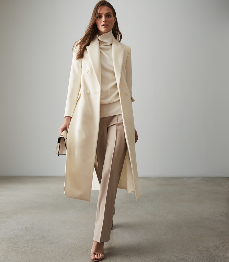 REISS Grayson Long Line Double Breasted Coat $350