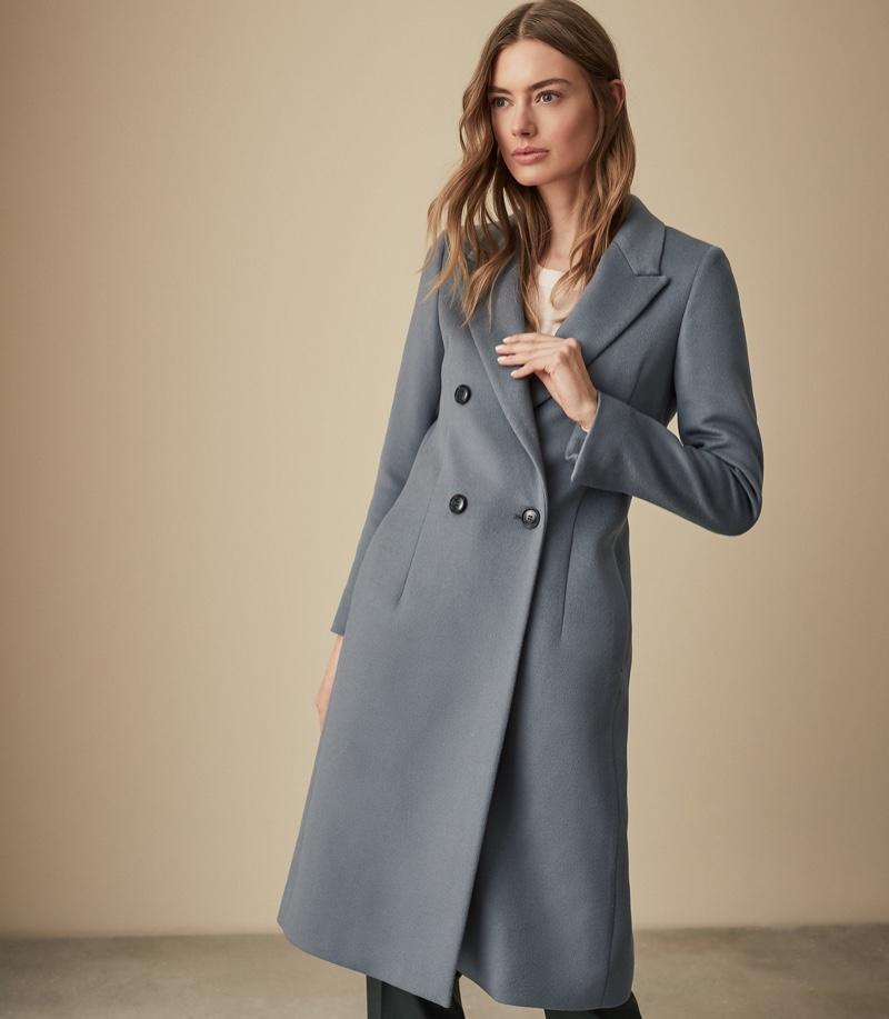 REISS Heston Longline Double Breasted Coat Slate $625
