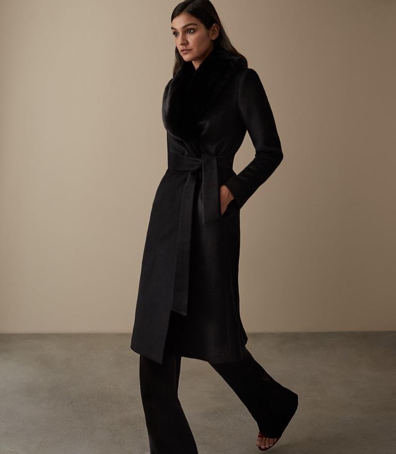 REISS Orson Detachable Faux-Fur Collar Coat $745