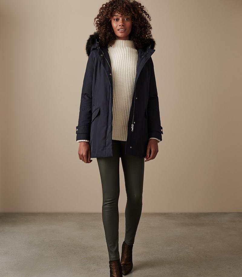 REISS Rosie Faux Fur Parka Coat $625