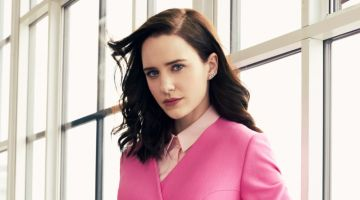 Photographed by Lara Jade, Rachel Brosnahan wears pink Delpozo pantsuit and belt