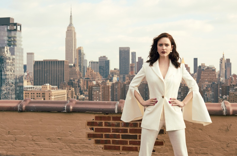 The actress poses in a Prabal Gurung suit jacket and pants