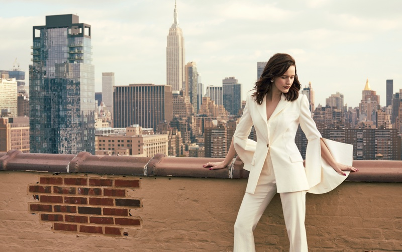 Suiting up, Rachel Brosnahan poses in New York City