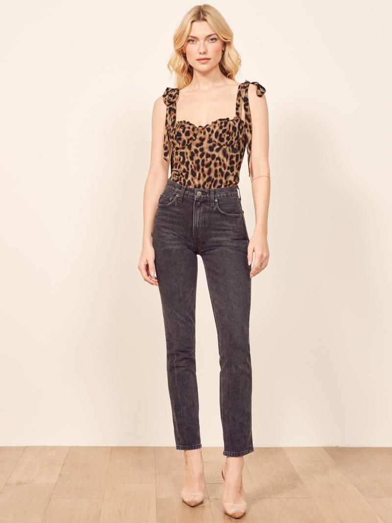 Reformation Blanca Top in Leopard $128