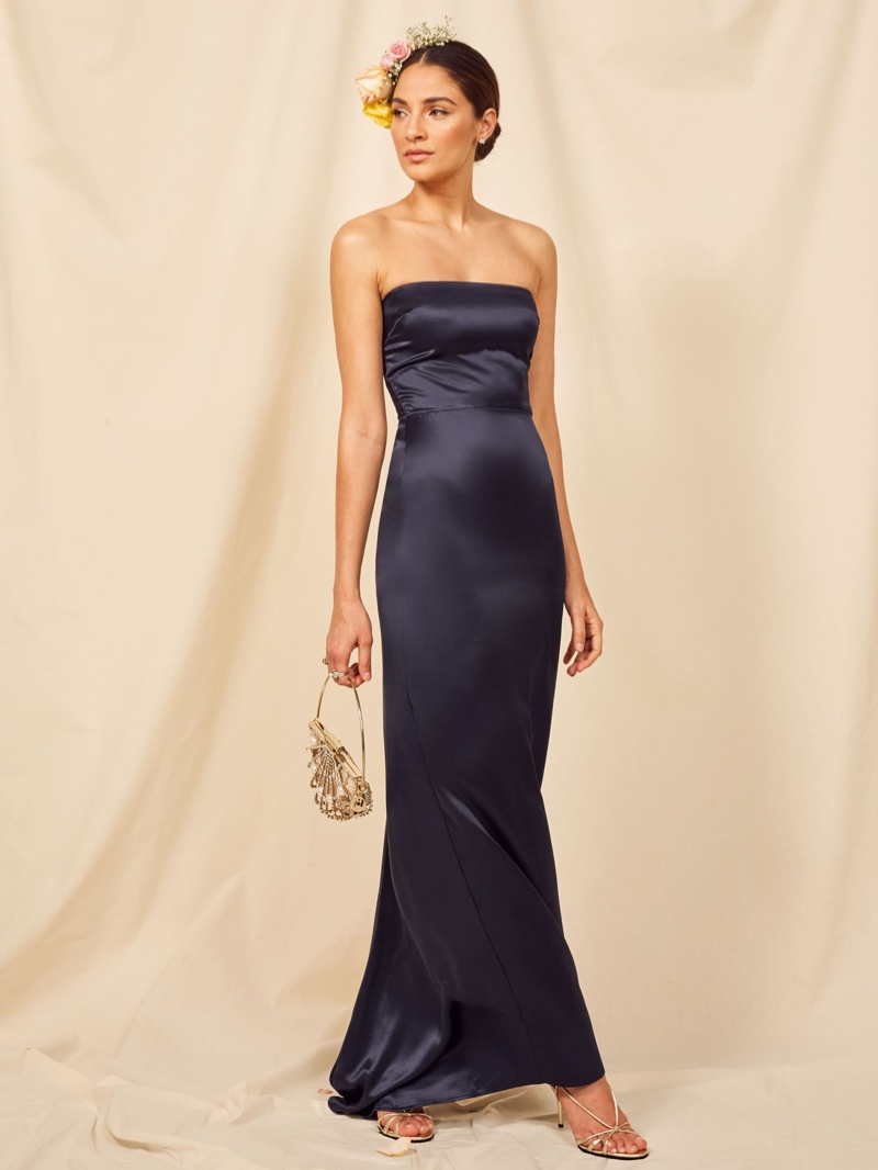 Reformation Demilo Dress in Navy $328