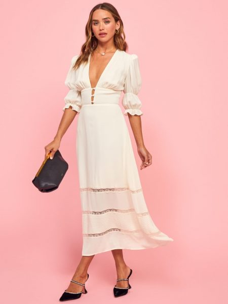 Reformation Ginny Dress in Ivory $298