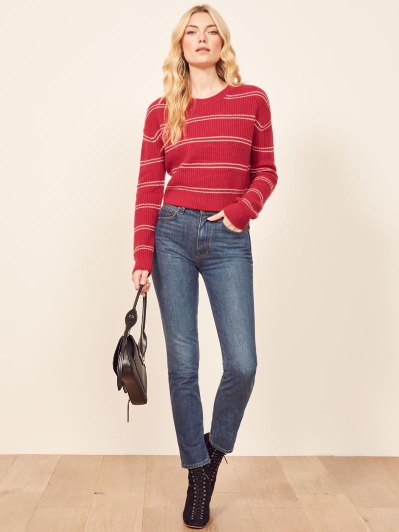 Reformation Kaia Sweater in Jo Stripe $228