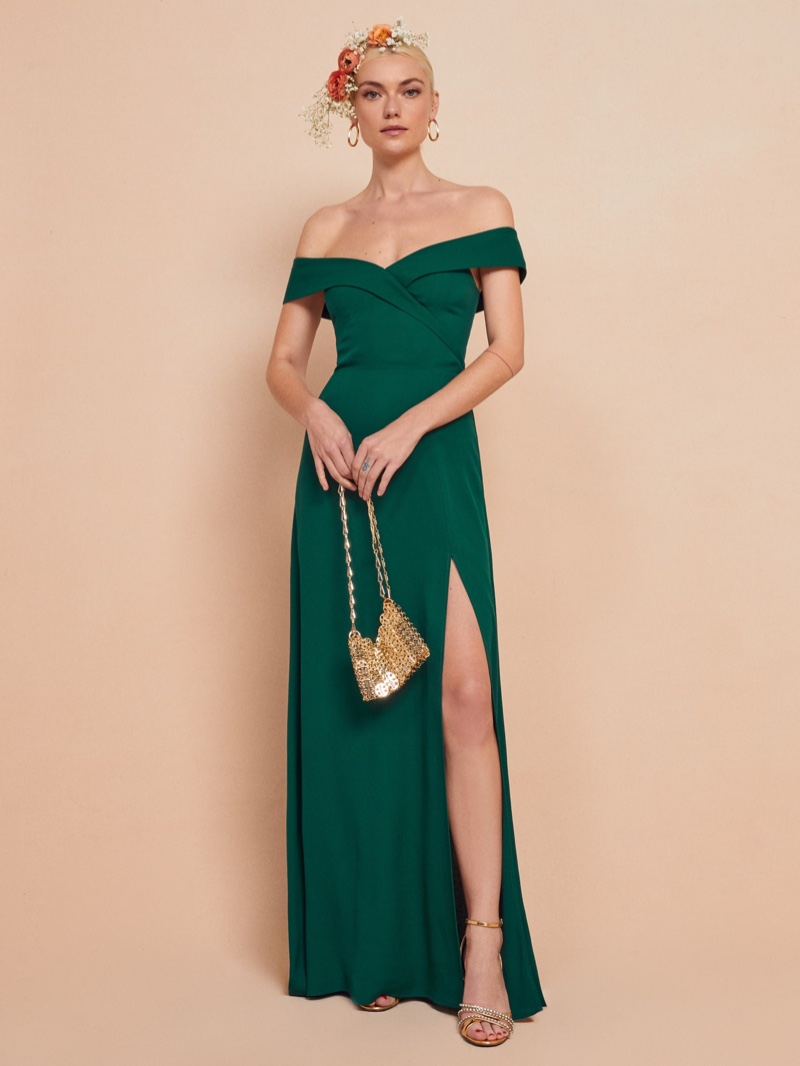 Reformation Redford Dress in Emerald $388