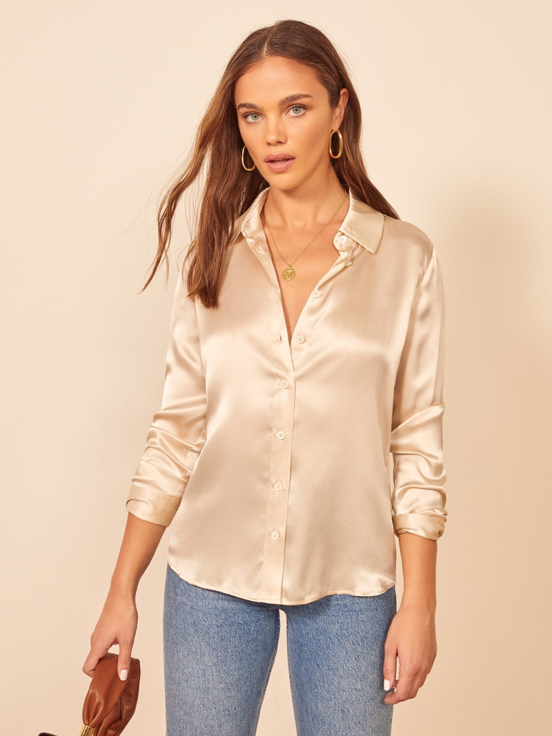 Reformation Sky Top in Ivory $148