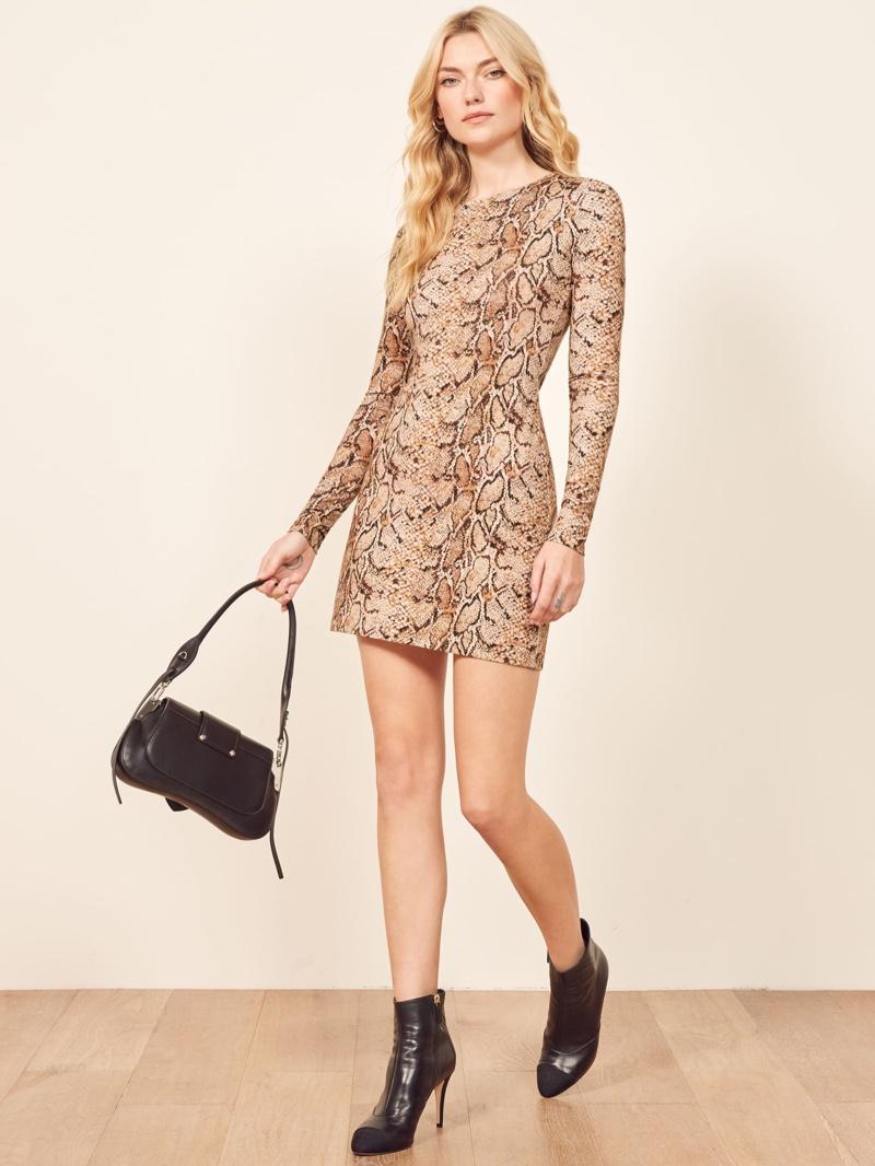 Reformation Smith Dress in Mamba $98