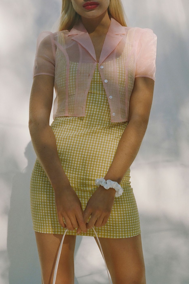 UO Sheer Organza Button-Down Cropped Top $69 and Mary Textured Gingham Dress $54