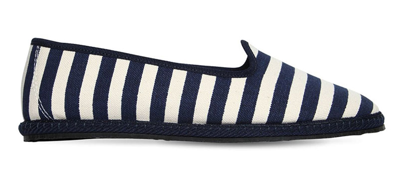 Vibi Venezia Striped Cotton Canvas Loafers in White/Blue $121