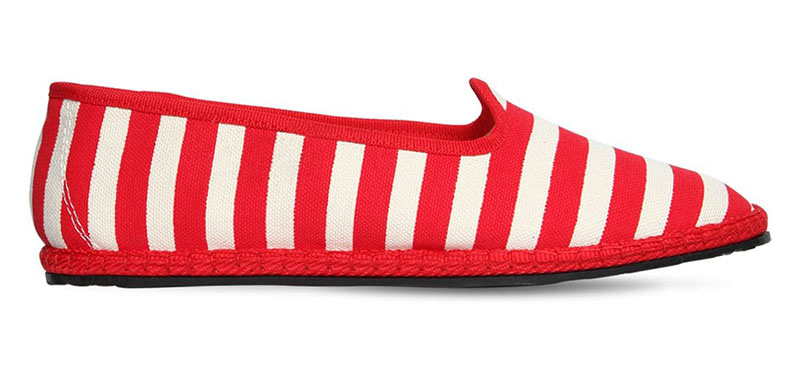 Vibi Venezia Striped Cotton Canvas Loafers in White/Red $121
