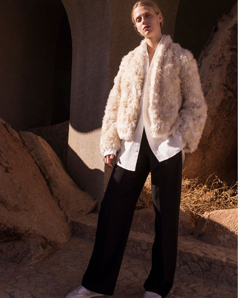 Vince Plush Faux-Fur Cropped Jacket $495, Oversized Classic Button-Down Shirt $255 and Relaxed High-Waist Wide-Leg Trousers $345