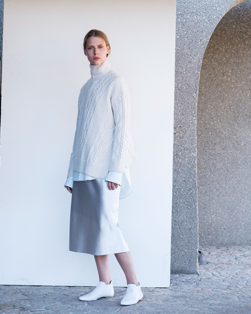 Vince Diagonal Cable-Knit Turtleneck Sweater $425 and Bias-Cut Satin Midi-Length Slip Skirt $265