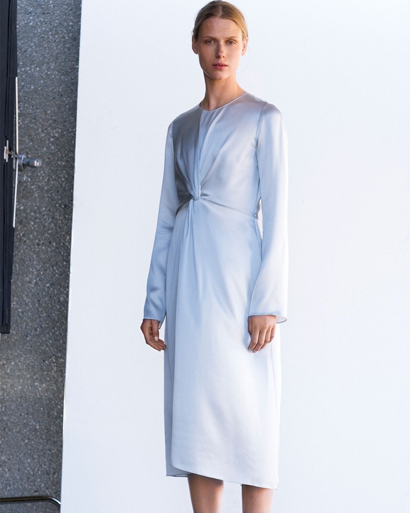 Vince Twist-Front Long-Sleeve Silk Midi Dress $425