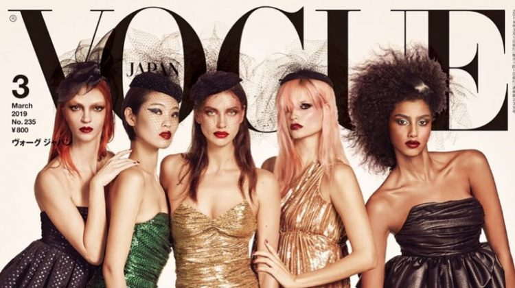 Mariacarla Boscono, Chiharu Okunugi, Irina Shayk, Natasha Poly and Imaan Hammam on Vogue Japan March 2019 Cover
