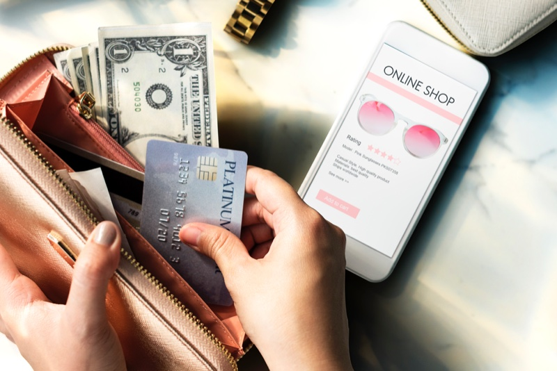 Wallet with Card, Money and Online Shop