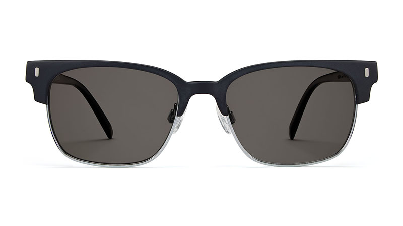 Warby Parker Lewis Sunglasses in Black Matte with Silver and Grey Lenses $145