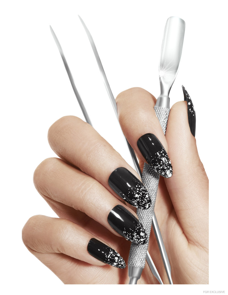Noir over Noir for YSL Polish, with Swarovski crystals and glitter by Lemonhead LA, Cuticle Pusher and Tweezer by Maruto. Photo: Wendy Hope