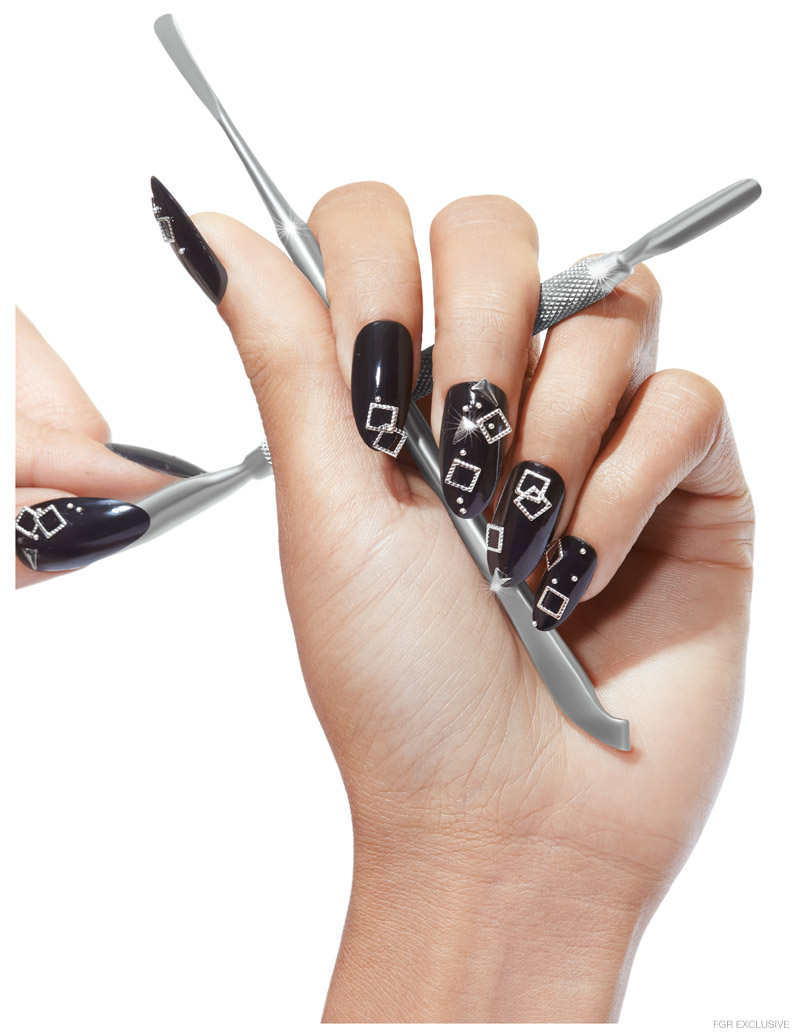 Black Lacquer Polish in Black Sequins, Cuticle Pusher and Tweezer by Maruto. Photo: Wendy Hope