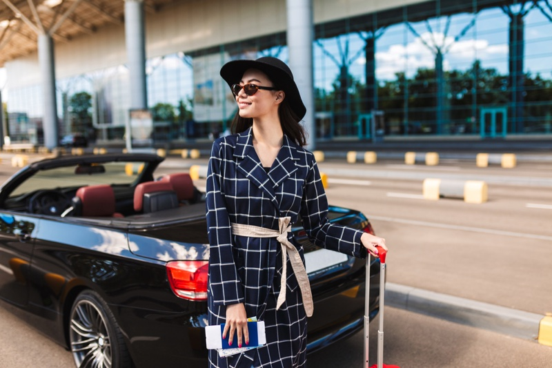 Woman Looking Stylish at Airport