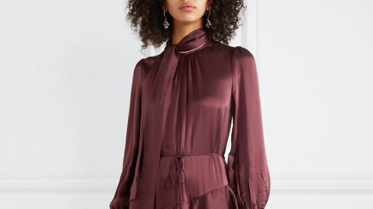 Zimmermann Espionage Pussy-Bow Ruffled Silk Dress $455 (previously $650)