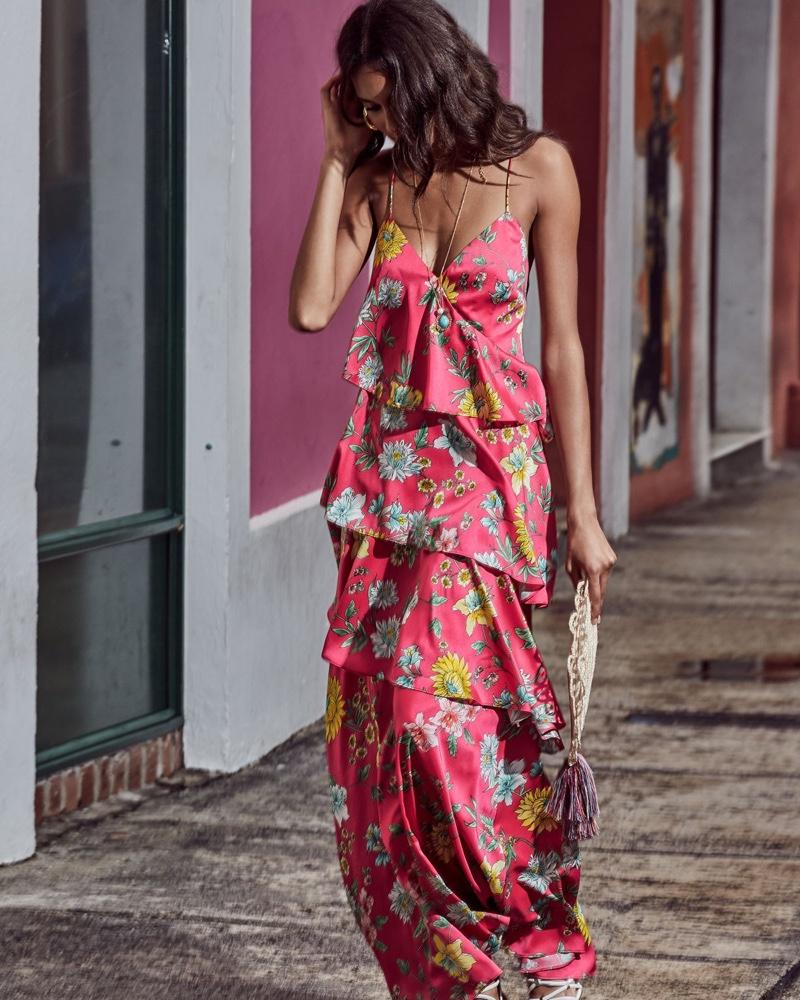 Aidan by Aidan Mattox Tiered Floral-Print Ruffle Open-Back Maxi Dress $295