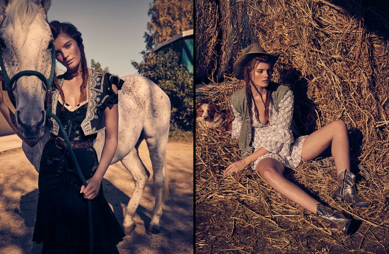 Alexina Graham Models Western Style for Grazia Italy