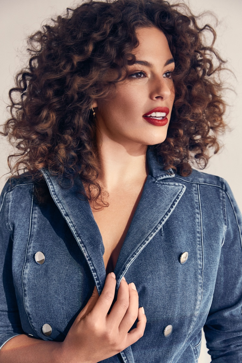 Ashley Graham sports a curly hairstyle for Marina Rinaldi Denim spring 2019 campaign