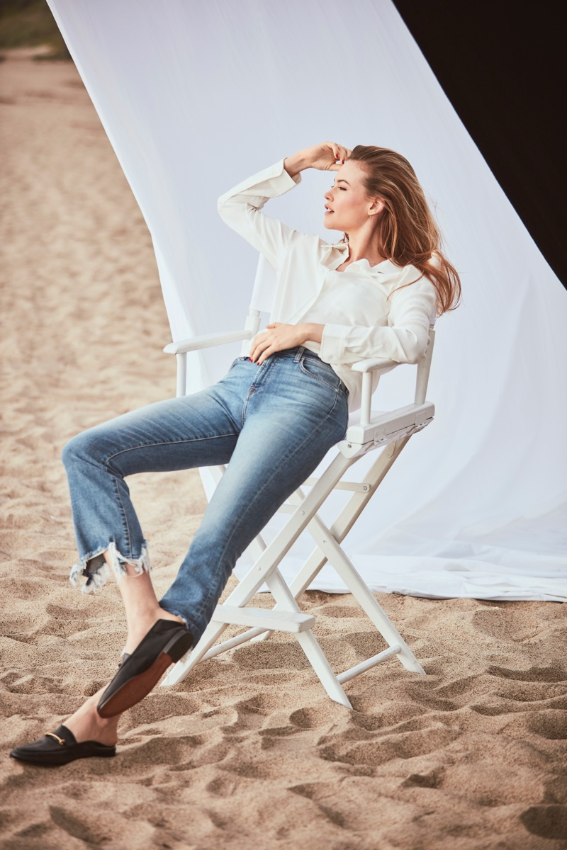 Wearing denim, Behati Prinsloo fronts 7 For All Mankind spring-summer 2019 campaign