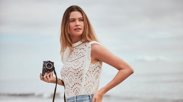 Behati Prinsloo poses on the beach in 7 For All Mankind spring-summer 2019 campaign