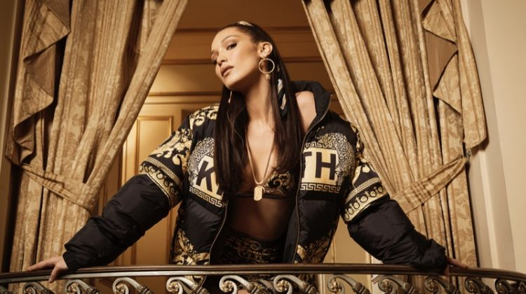 Bella Hadid poses in graphic jacket from Kith x Versace collaboration
