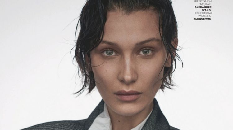 Bella Hadid Poses in Minimal Looks for Vogue Russia