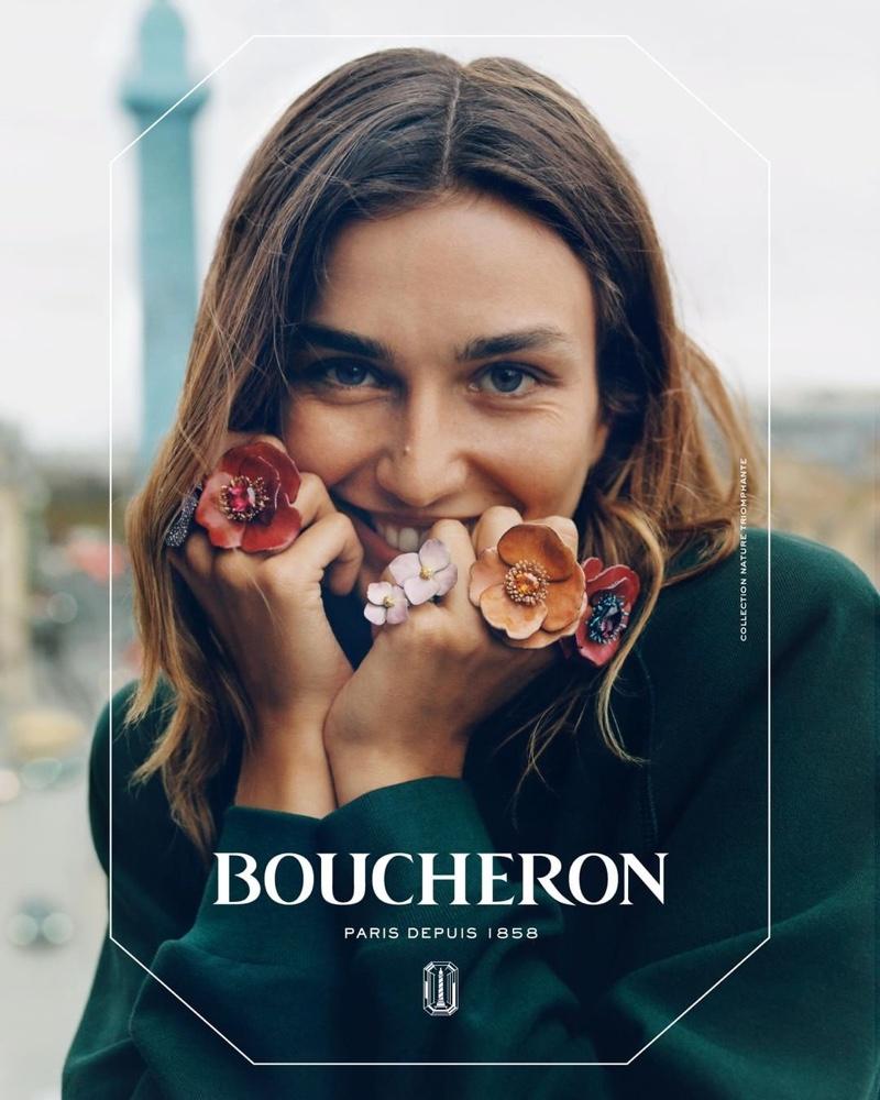 Model Andreea Diaconu wears flower rings in Boucheron campaign