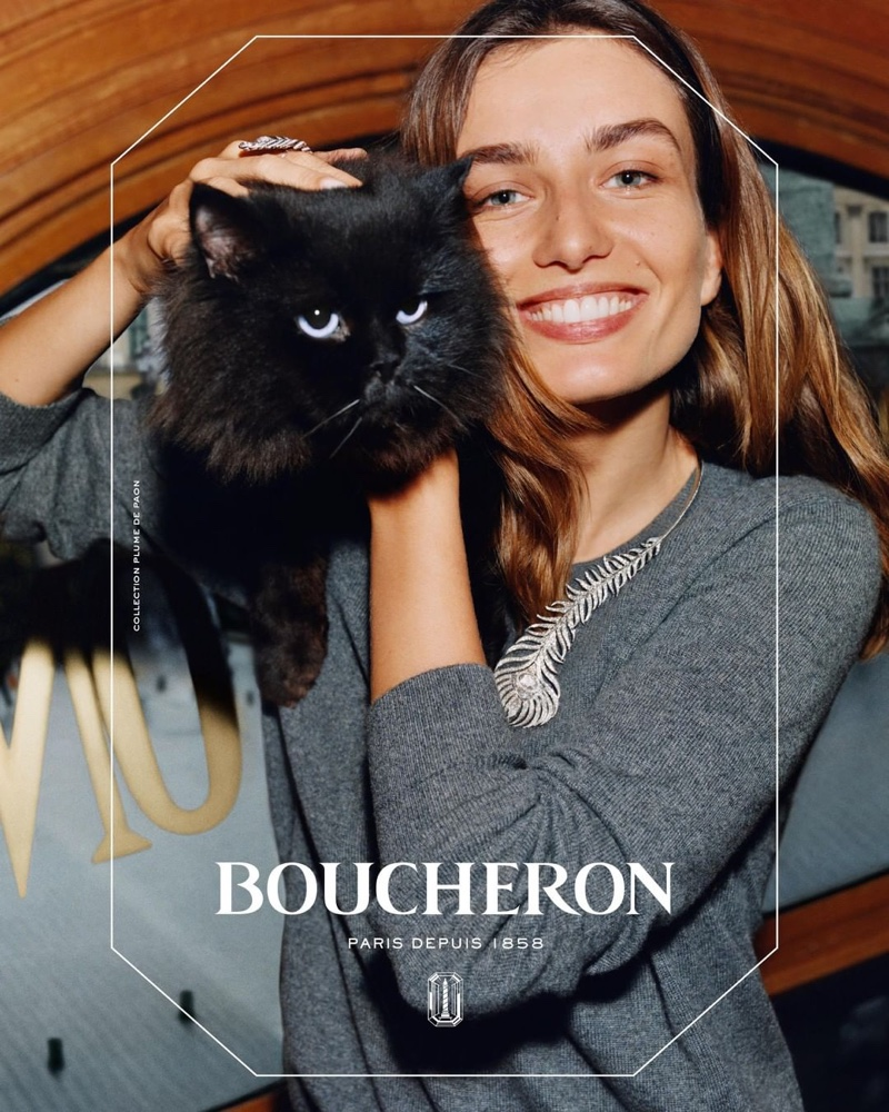 Posing with a cat, Andreea Diaconu fronts Boucheron campaignPosing with a cat, Andreea Diaconu fronts Boucheron campaign