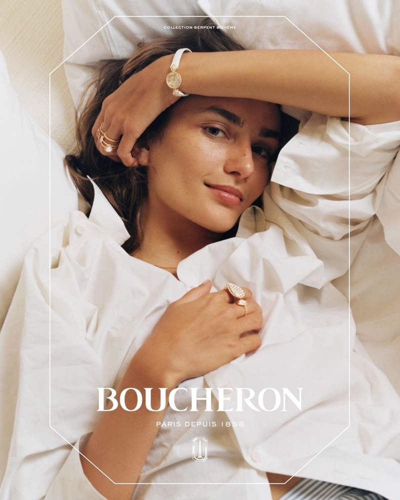Andreea Diaconu appears in Boucheron jewelry campaign wearing Serpent Bohème collection