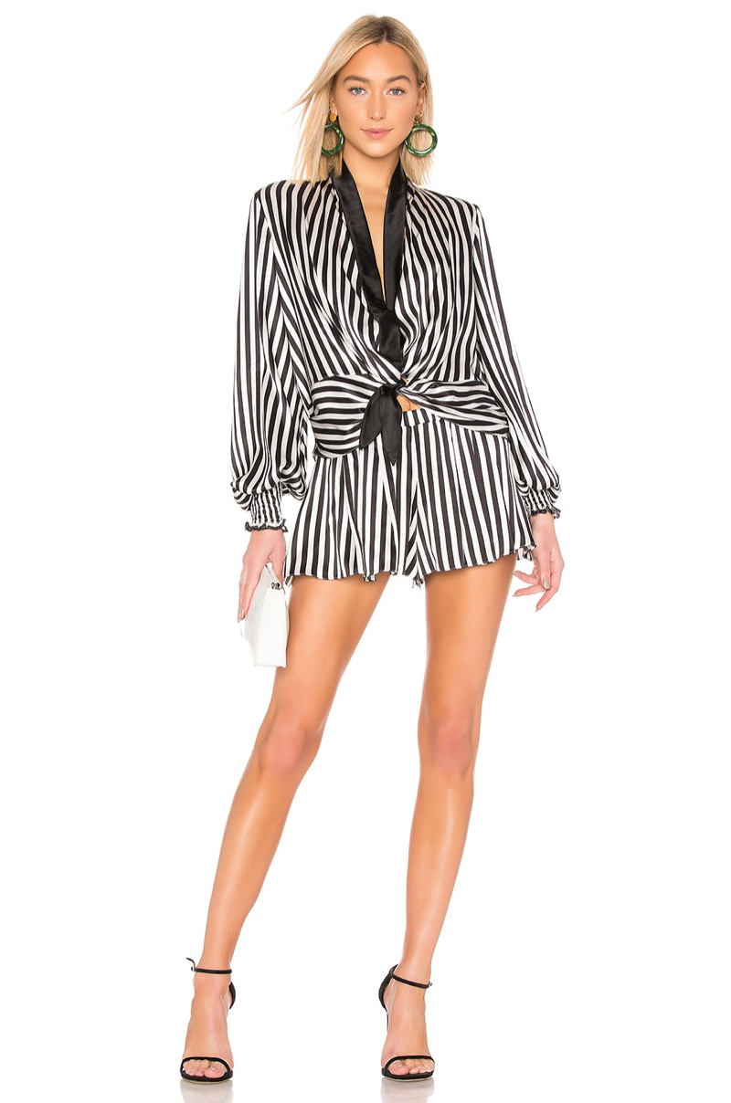 Carolina Constas Bette Tie Blouse $495 and Pleated Short $295