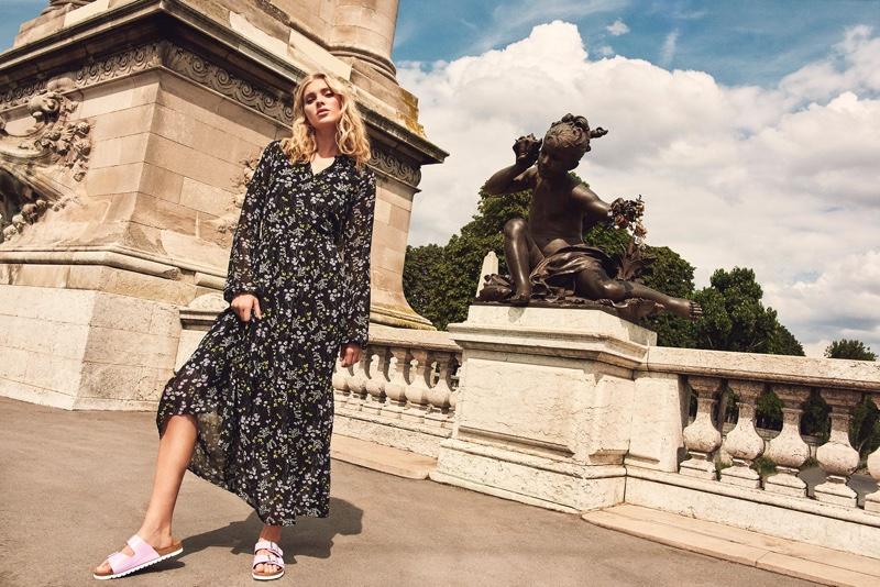 Model Elsa Hosk wears maxi dress in Vero Moda spring-summer 2019 campaign