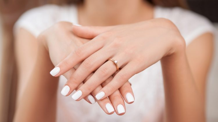 Engagment Ring with White Manicured Nails