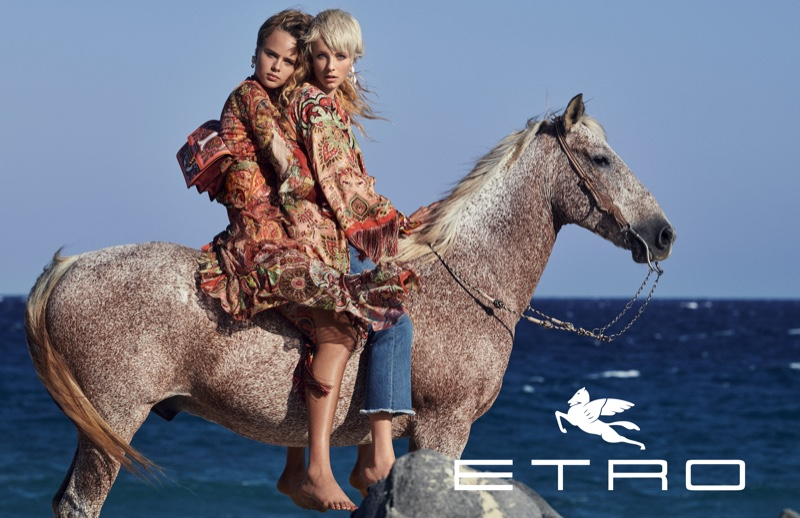 Edie Campbell and Olivia Vinten pose on a horse for Etro spring-summer 2019 campaign