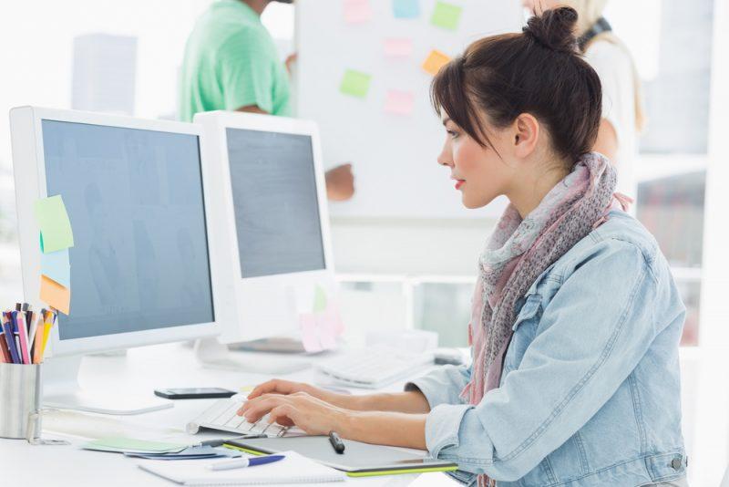 Fashion Girl Working at Computer