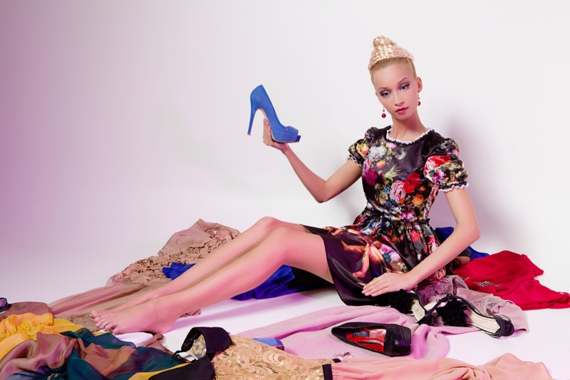 Model Posed Like Barbie Doll